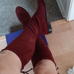 """Stuart Weitzman Burgundy """"Lowland"""" Suede Boots"""